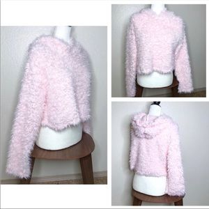 Tops - Pink Fluffy Cropped Teddy Bear Hoodie